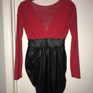 Dresses & Skirts - Nwot red and black leather dress